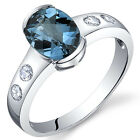 1.50 ct London Blue Topaz Half Bezel Solitaire Ring Sterling Silver Size 5 to 9