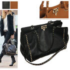 WOMEN'S LUXURY GENUINE LEATHER HANDBAG GOLD STUDS DOUBLE ROCK SHOULDER BAG PURSE