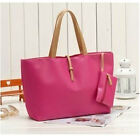 Womens Designer PU Leather Handbag with Little Purse Weekend Bag Shopper Tote UK