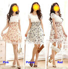 New Hot Fashion Women Short Sleeve Floral Print Tunic Casual Chiffon Mini Dress