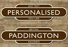 Railway Totem Station Sign, Personalised Metal Sign, Classic Brown & Ivory