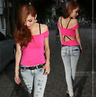 Sexy Womens Off Shoulder Open Back Halter Tight T-Shirt Tee Hiphop Tops 8429