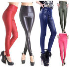Womens Sexy Faux LEATHER Wet LOOK HIGH WAISTED JEGGINGS/LEGGINGS Pants ONE SIZE