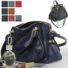 WOMEN'S CELEBRITY HANDBAG PARATY GENUINE COWHIDE LEATHER PIPED TOTE SHOULDER BAG