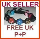 Shamballa Bling Friendship Multi Crystal Disco 9 Balls Bracelet 12mm Free UK P+P