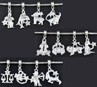Zodiac Symbol with Crystal Silver Plated Large 4.6mm Hole Dangle Charm Bead 1pc