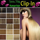 Any Color&Length Clip In Human Hair Extensions Remy Human Hair Full Head Free