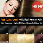 Real Remy 100% Human Hair Full Head 8 Wefts 18 Clips hair Extension Clip In Set