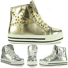 Womens Flat High Hi Top Lace Up Platform Trainers Pumps Ankle Spike Shoes Boots