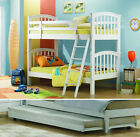 JOSEPH POLO WHITE WOODEN BUNK BED AND TRUNDLE BED WITH 4 INCH FOAM MATTRESS