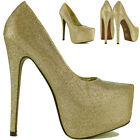 Gold Ladies Womens Sexy High Heel Platform Glitter Party Prom Bridal Court Shoes