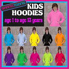 KIDS PLAIN  HOODIE HOODY 11 COLOURS SIZES FROM AGE 1 TO AGE 13 YEARS