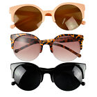 Designer Super Round Circle Cat Eye Semi-Rimless Sunglasses Fashion Unisex Retro