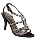 L3375 Black satin high heel diamante trim strappy fashion ladies sandal