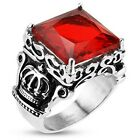 Stainless Steel Faceted Large Red Square Gem Royal Crown Cast Ring Band R254