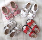 NEW Girls Leather Sandals Size 0-5 Approx: 3M - 24M in White-Pink-Red-Silver