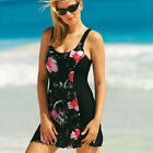 One-Piece Floral Print Beachwear Swimsuit with-Skirt 6 8 10 12 14 16 18 20 22