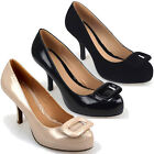LADIES WOMENS MID LOW HEEL COURT WORK SHOE SQUARE TRIM BLACK NUDE 3-8
