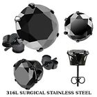 Pair of Black IP Plted Surgical Stainlss Steel Stud Earrng with Rnd Black CZ H77