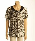 Victoria Leopard Top M/L Beaded Grey Black Animal Med Lg Blouse Shirt Gray