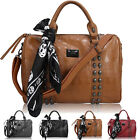 Ladies Womens Leather Style Skull Stud Studded Large Satchel Hobo Tote Hand Bag