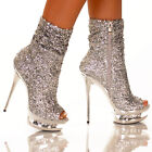 Sexy Sequin Open Toe Rhinestone Ankle Bootie Boots BLACK GOLD or SILVER 5-11