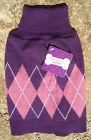 UGLY PET SWEATER ~FOR DOGS/CATS ~(S, M)~ PURPLE / PINK ~CHRISTMAS ARGYLE CLOTHES