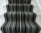 Lima Black Grey Off White Striped Cut to Any Length Stair Carpet Hall Runner Rug