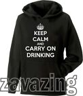 KEEP CALM AND CARRY ON DRINKING UNISEX HOODIE DRINK PUB ALCOHOL XMAS PRESENT