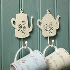 Vintage Country Kitchen Cream Metal Tea or Coffee Pot Hook Chic Shabby Home Gift