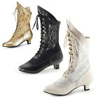 Victorian wedding lace ankle boots NEW! BLACK IVORY GOLD - CLOSING DOWN SALE!
