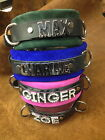 Personalized name collar genuine leather crystals or silver ABBY SAM ROXY MISSY