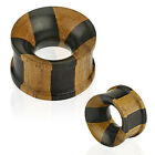 Organic Wood Concave Cross Checker Double Flared Tunnel