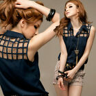 Korea Women Hollow Checks Mesh Sleeveless Tops Shirt Casual Vest Blouse 8478#