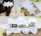 100% Hand made bridesmaid flower girls chiffon lily barrette + pearls hair clips