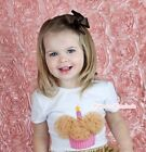 White Short Sleeve Top Shirt Goldenrod Rose Birthday Cupcake Print For Girl 1-8Y