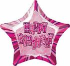 Pink Glitz age 13th to 100th + HAPPY Birthday star foil Helium balloons 20""