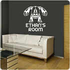 GRUMPY ROBOT & PERSONALISED NAME boys bedroom wall sticker, art decal, graphic