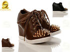 NEW WOMENS LADIES WEDGE HIGH HEEL LACE UP SPIKE STUDS TRAINERS BOOTS SHOES SIZE