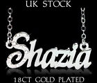 SHAZIA NAME NECKLACE 18ct Gold Plated Personalised Gifts Jewelry Arabic/Muslim