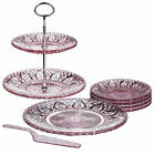 Pink Glass Tier Cake Stand Serving Plate Slice Dessert Sets Wedding Party Gifts