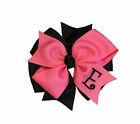 Hot Pink and Black Monogram Hair Bow