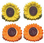 YELLOW or ORANGE SUNFLOWER STUD or CLIP ON EARRINGS ~ 2 COLORS