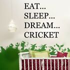 EAT SLEEP DREAM CRICKET sports player bedroom mens boys wall stickers quote