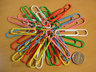 25 Extra Large 50mm Paper Clips Plastic Covered Giant Paperclips - 6 Colours