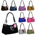 New Ladies Italian Real Suede Buckle Twin Strap Shoulder Tote Bag