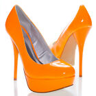 Qupid Neon Orange Shiny Patent Leather Platform High Heel Stilettos Pump US 5-10
