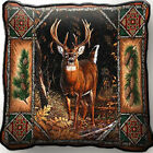 Deer Lodge with Tree Bark Border Art Tapestry Pillow Jacquard Woven Cotton