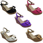 New Womens Ladies Ankle Strappy Wedge Cork Heel Peep Toes Sandals Shoes UK Size