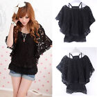 Womens 2 in 1 Style New Hot Sexy Lace Loose Batwing Tops Blouses T-shirt 2Colors